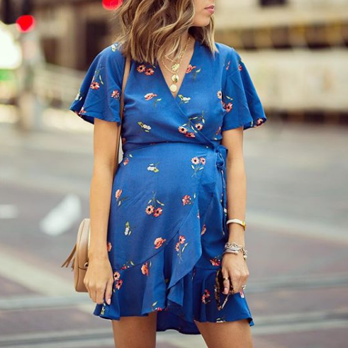Maternity Floral Print Surplice Wrap Ruffled Short Dress