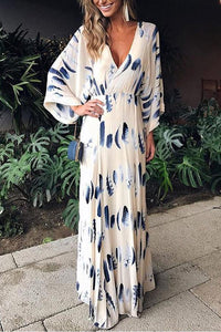 Sexy Elegant Floral Print Long Sleeves Special Occasion Vacation Maxi Dress