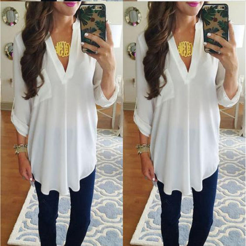 Maternity V-Neck Chiffon Blouse