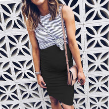 Load image into Gallery viewer, Maternity Stripes Color Block Fake Two Pieces Dress