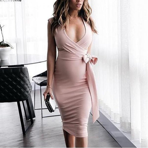 Maternity V-Neck Side Bow Bodycon Dress