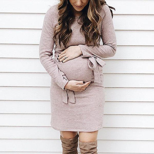 Maternity Long Sleeve With Bow Bodycon Dress
