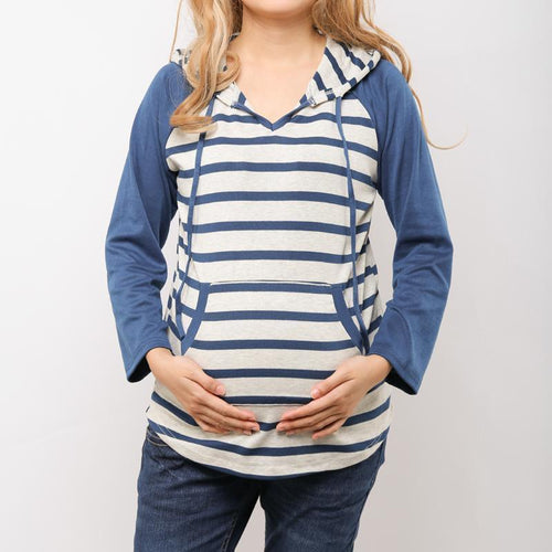 Maternity Autumn Striped Baseball Jersey Hoodie With Pockets