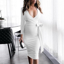 Load image into Gallery viewer, Maternity V-Neck Side Bow Knee-Length Elegant Dress