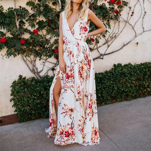 Printed Chiffon Holiday Beach Slit Dress