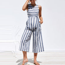 Load image into Gallery viewer, Maternity O-Neck Sleeveless Stripe Jumpsuit