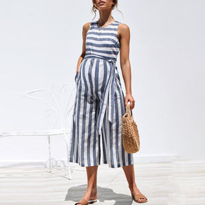 Maternity O-Neck Sleeveless Stripe Jumpsuit