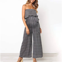 Load image into Gallery viewer, Maternity Off Shoulder Stripe Loose Jumpsuit