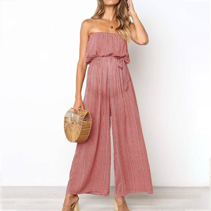 Maternity Off Shoulder Stripe Loose Jumpsuit
