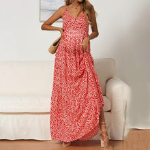 Load image into Gallery viewer, Maternity V-Neck Spaghetti Strap Floral Maxi Dress