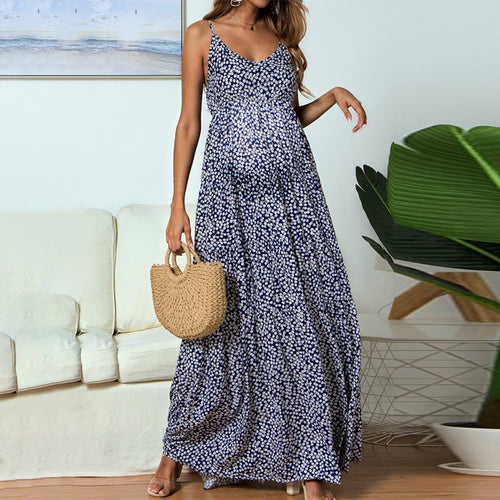 Maternity V-Neck Spaghetti Strap Floral Maxi Dress