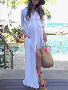 Maternity Casual V Neck Pure Colour See-Through Long Sleeve Dress