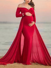 Load image into Gallery viewer, Maternity Elegant Long Sleeve Pure Colour Shoulder Dress