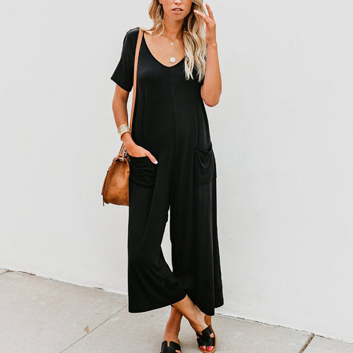 Maternity Casual Pure Color Short Sleeve Bare Back Jumpsuit