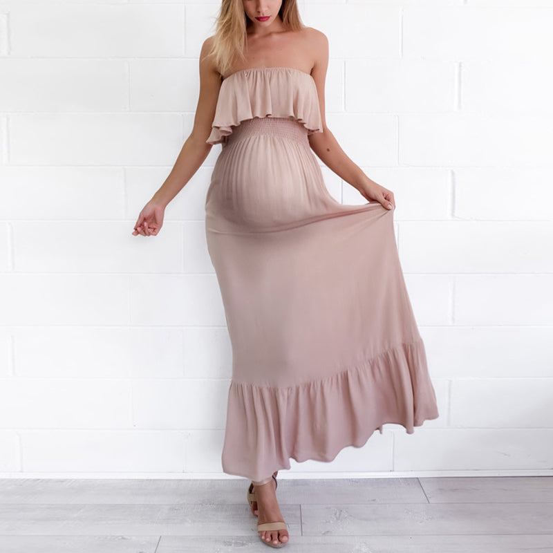Maternity Sexy Open Shoulder Lotus Leaf Dress