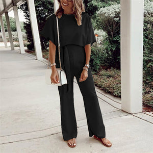 Maternity Loose Casual Solid Color Lace-Up Short Sleeve Jumpsuit