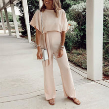 Load image into Gallery viewer, Maternity Loose Casual Solid Color Lace-Up Short Sleeve Jumpsuit