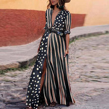 Load image into Gallery viewer, Maternity Fashion Striped V Neck Short Sleeve Dress
