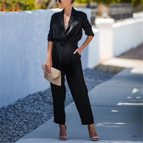 Maternity Long Sleeve Belt Tie Shirt Jumpsuit