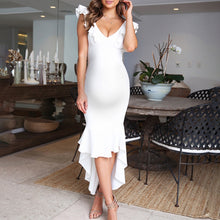 Load image into Gallery viewer, Maternity Temperament V-Neck Ruffled Solid Color Dress