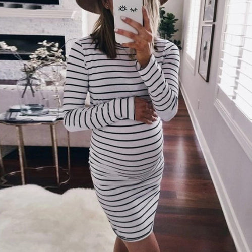 Maternity Casual Round Neck Long Sleeve Striped Sheath Dress