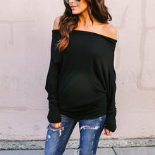 Load image into Gallery viewer, Maternity Fashion Off Shoulder Pure Color Long Sleeve T-Shirt
