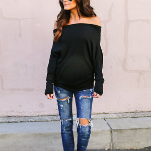 Maternity Fashion Off Shoulder Pure Color Long Sleeve T-Shirt