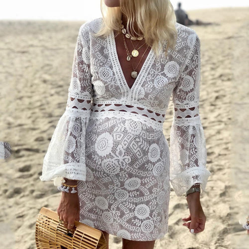 Maternity White Openwork Lace Dress