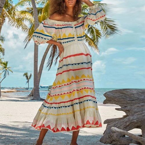 Maternity Lantern Sleeve Colorful Striped Off Shoulder Dress