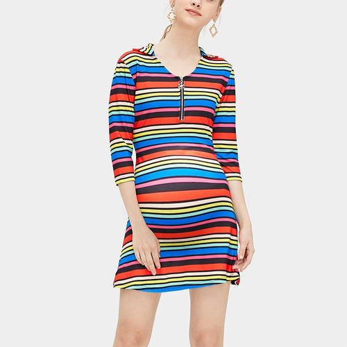 Maternity Casual Colorful Striped Metal Zipper Bracelet Sleeve Dress