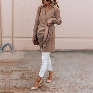 Maternity Solid Color Wool V-Neck Belt Casual Jacket
