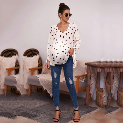 Maternity Polka-Dot V-Neck Long-Sleeved Loose Strap T-Shirt