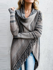Maternity Fringed Sweater Cardigan
