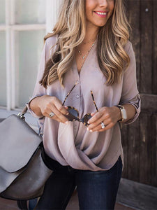 Maternity Fashion V Neck Pure Color Single-Breasted T-Shirt