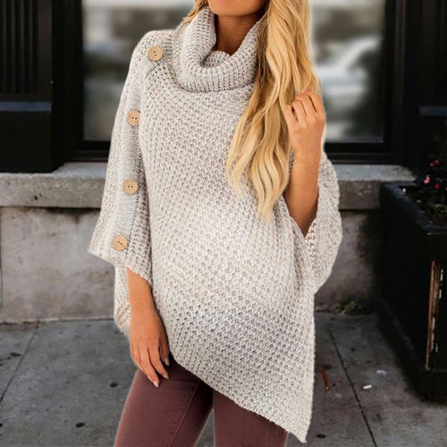Maternity Casual Pile Collar Solid Color Single-Breasted Irregular Hem Sweater
