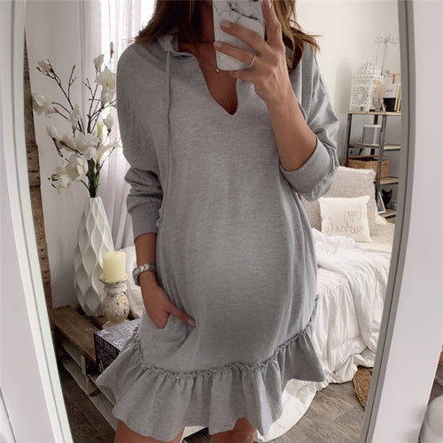 Maternity V-Neck Ruffle Splicing Long Sleeve Hoodie Dress