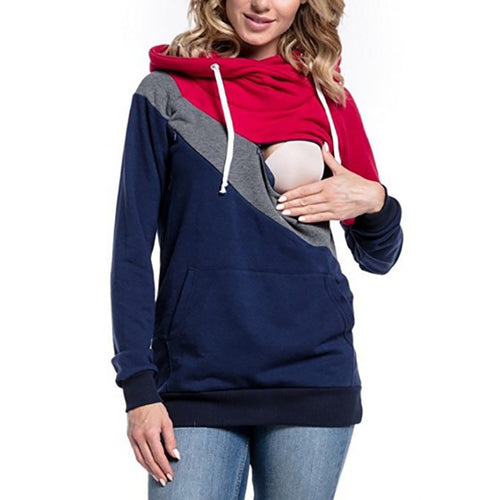 Maternity Casual Hooded Long Sleeve Colouring Sweatshirt