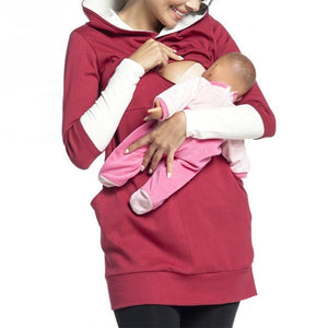 Maternity Casual Long Sleeve Pure Color Hoodie