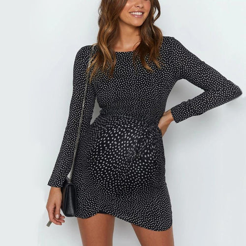 Women's Maternity Sweet Round Neck Long Sleeve Polka Dot Loose Dress