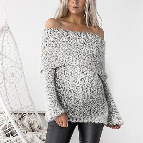 Maternity Pure Color Off Shoulder Long Sleeve Sweater