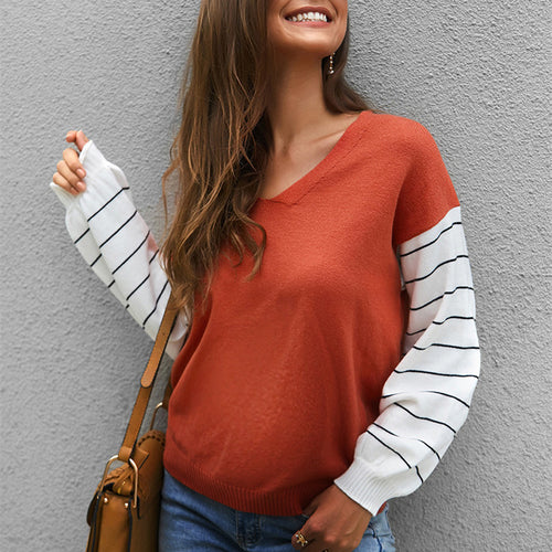 Maternity Color Block Stripst Long Sleeve Sweater