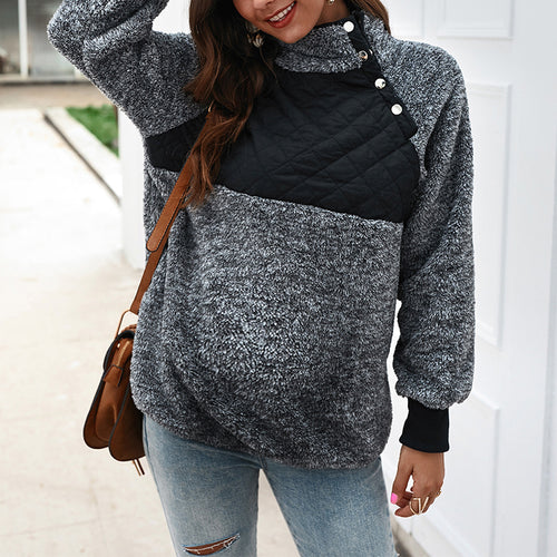Maternity Fashion Stitching Solid Color Long-Sleeved Sweater