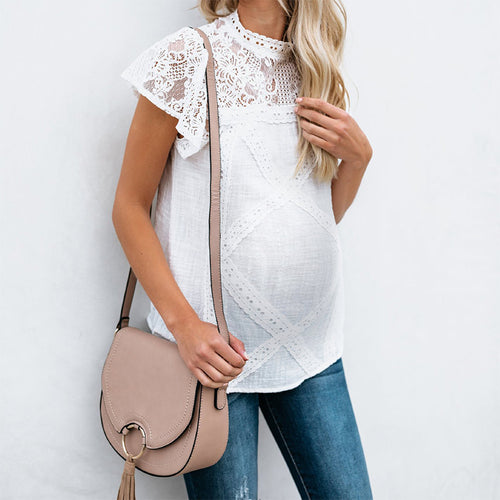 Maternity Short Sleeve Lace T-Shirt
