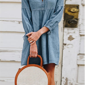 Maternity Casual V-Neck Bow Denim Dress