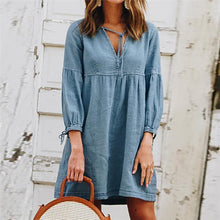 Load image into Gallery viewer, Maternity Casual V-Neck Bow Denim Dress