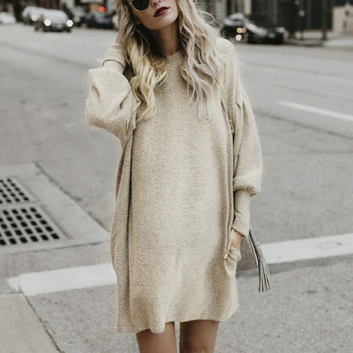 Maternity Long Sleeved Bat Sleeve Solid Color Crew Neck Dress