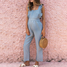 Load image into Gallery viewer, Maternity Ruffled Backless Sexy Linen Jumpsuit