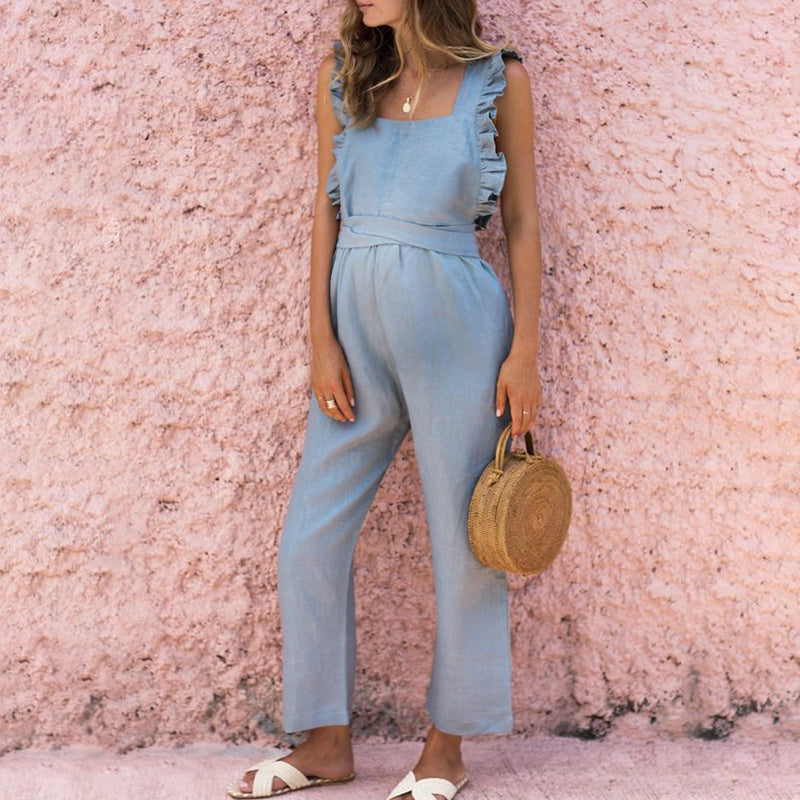 Maternity Ruffled Backless Sexy Linen Jumpsuit