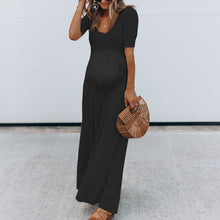 Load image into Gallery viewer, Maternity Plain U-Neck Loose Jumpsuit