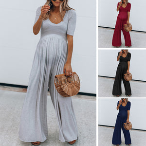 Maternity Plain U-Neck Loose Jumpsuit